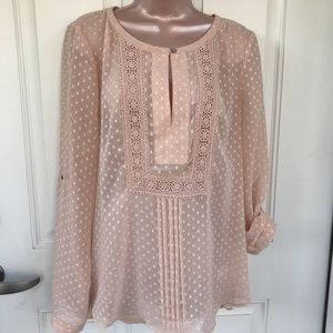 Daniel Rainn pale peach shear blouse with crochet